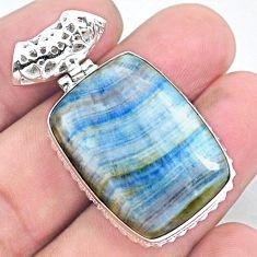 27.08cts natural blue scheelite (lapis lace onyx) 925 silver pendant p23432