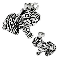 3d moving charm solid 925 sterling silver dog pendant jewelry p2358