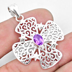 1.55cts natural purple amethyst 925 sterling silver pendant jewelry p23622