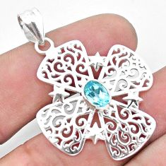 1.55cts natural blue topaz 925 sterling silver pendant jewelry p23625