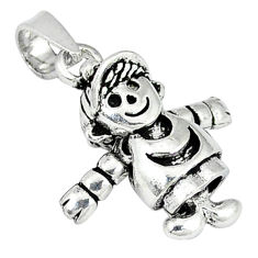 3d moving charm solid 925 sterling silver doll pendant jewelry p2407
