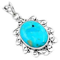 12.55cts blue arizona mohave turquoise 925 sterling silver pendant p24281