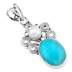 925 silver 9.04cts natural green peruvian amazonite white pearl pendant p24283