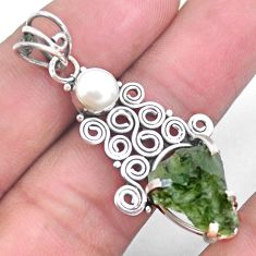 6.47cts natural green moldavite white pearl 925 silver pendant jewelry p24302