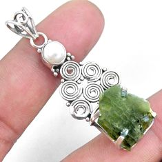 7.53cts natural green moldavite white pearl 925 silver pendant jewelry p24307