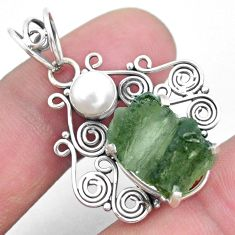 925 silver 6.47cts natural green moldavite white pearl pendant jewelry p24312