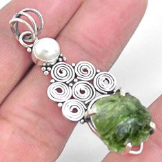 925 silver 7.21cts natural green moldavite (genuine czech) pearl pendant p24332