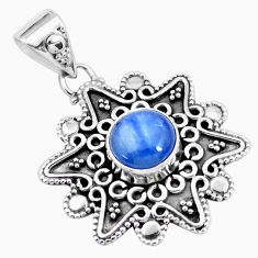 3.42cts natural blue kyanite round 925 sterling silver pendant jewelry p24701