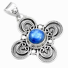 925 sterling silver 3.42cts natural blue kyanite round pendant jewelry p24706