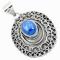 4.21cts natural blue kyanite 925 sterling silver pendant jewelry p24707