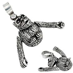 3d moving charm solid 925 sterling silver chimpanzee charm pendant p2471