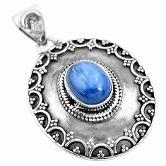 3.92cts natural blue kyanite oval 925 sterling silver pendant jewelry p24710