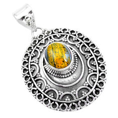 925 sterling silver 4.21cts natural brown tiger's eye pendant jewelry p24803