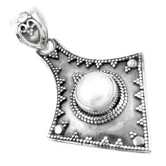 925 sterling silver 3.23cts natural white pearl round pendant jewelry p24820