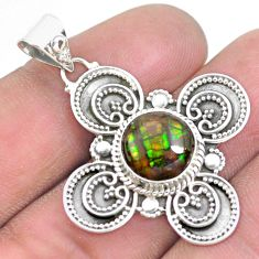 5.08cts natural multi color ammolite (canadian) 925 silver pendant p24826