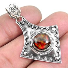 4.92cts natural multi color ammolite (canadian) 925 silver pendant p24837