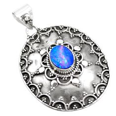 2.41cts natural blue doublet opal australian 925 sterling silver pendant p24844