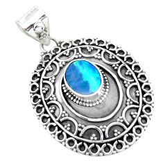 2.41cts natural blue doublet opal australian 925 sterling silver pendant p24852