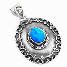 2.51cts natural blue doublet opal australian 925 sterling silver pendant p24860