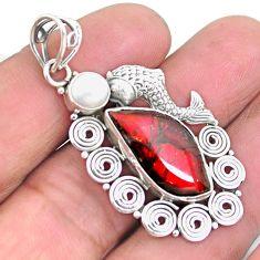 6.73cts natural multi color ammolite 925 silver fish pendant jewelry p25155