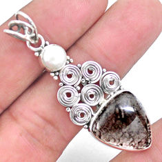 8.22cts natural brown agni manitite pearl 925 sterling silver pendant p25192