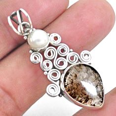 8.44cts natural brown agni manitite pearl 925 sterling silver pendant p25193