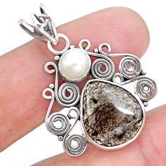925 sterling silver 7.53cts natural brown agni manitite pearl pendant p25194