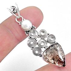 6.48cts natural brown agni manitite pearl 925 sterling silver pendant p25197