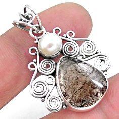 10.29cts natural brown agni manitite pearl 925 sterling silver pendant p25200