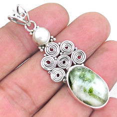 13.39cts natural green tourmaline in quartz pearl 925 silver pendant p25207
