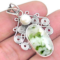 925 silver 14.09cts natural green tourmaline in quartz pearl pendant p25210