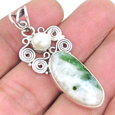 12.52cts natural green tourmaline in quartz pearl 925 silver pendant p25212