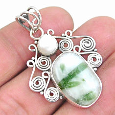 12.83cts natural green tourmaline in quartz pearl 925 silver pendant p25213