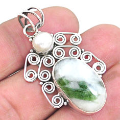 925 silver 13.77cts natural green tourmaline in quartz pearl pendant p25214