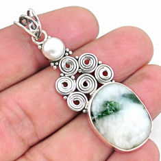 925 silver 15.55cts natural green tourmaline in quartz pearl pendant p25218