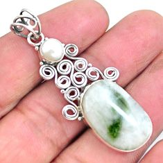 16.15cts natural green tourmaline in quartz pearl 925 silver pendant p25219