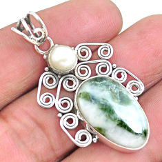 13.85cts natural green tourmaline in quartz pearl 925 silver pendant p25220