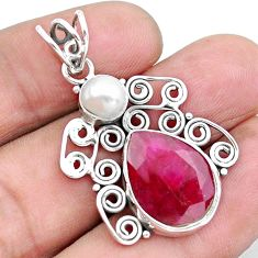 10.81cts natural red ruby pearl 925 sterling silver pendant jewelry p25225