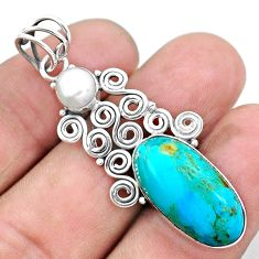 925 sterling silver 10.81cts green arizona mohave turquoise pearl pendant p25231