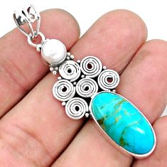 10.81cts green arizona mohave turquoise pearl 925 sterling silver pendant p25233