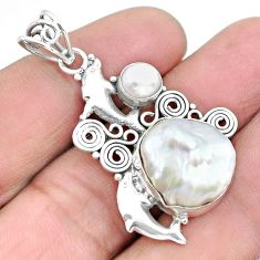 12.31cts natural white pearl 925 sterling silver dolphin pendant jewelry p25241