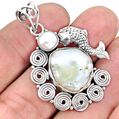 925 sterling silver 12.70cts natural white pearl fish pendant jewelry p25256