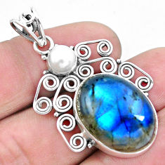 17.67cts natural blue labradorite pearl 925 sterling silver pendant p25326