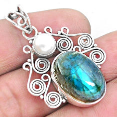 14.08cts natural blue labradorite pearl 925 sterling silver pendant p25328