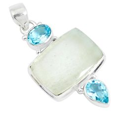 19.72cts natural libyan desert glass blue topaz 925 silver pendant p25474