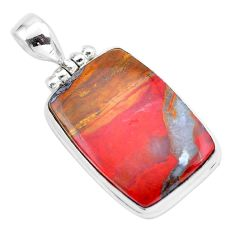 22.59cts natural brown moroccan seam agate 925 sterling silver pendant p25521
