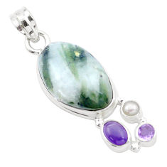 925 silver 19.82cts natural green tourmaline in quartz amethyst pendant p25523
