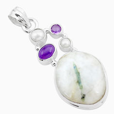 925 silver 24.00cts natural green tourmaline in quartz amethyst pendant p25532