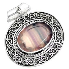 15.50cts natural multi color fluorite 925 sterling silver pendant jewelry p25550