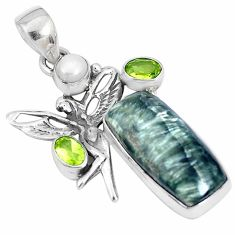 13.79cts natural green seraphinite 925 silver angel wings fairy pendant p25559